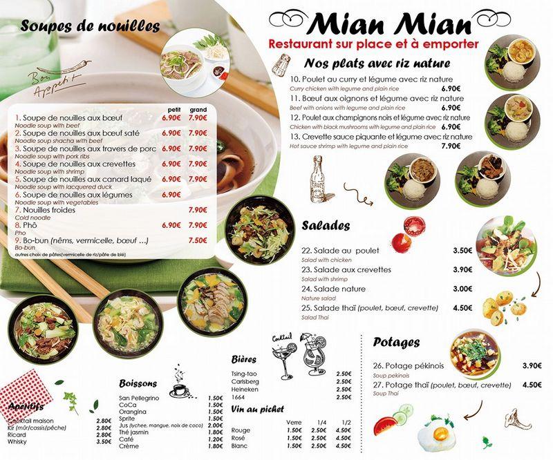 carte du Mian Mian Caen
